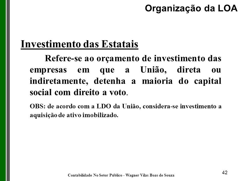 42 Investimento das Estatais Refere-se ao orçamento de investimento das empresas em que a União, direta ou indiretamente, detenha a maioria do capital