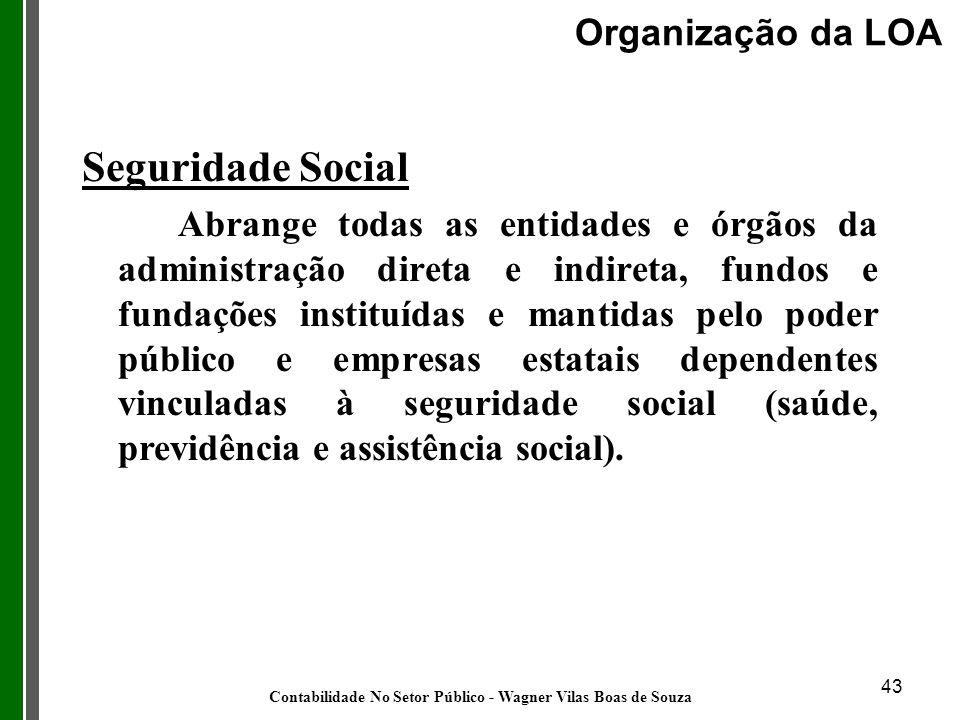43 Seguridade Social Abrange todas as entidades e órgãos da administração direta e indireta, fundos e fundações instituídas e mantidas pelo poder públ