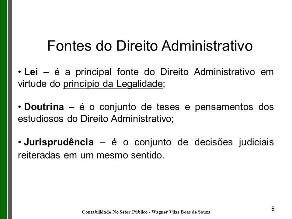 5 Fontes do Direito Administrativo Lei – é a principal fonte do Direito Administrativo em virtude do princípio da Legalidade; Doutrina – é o conjunto