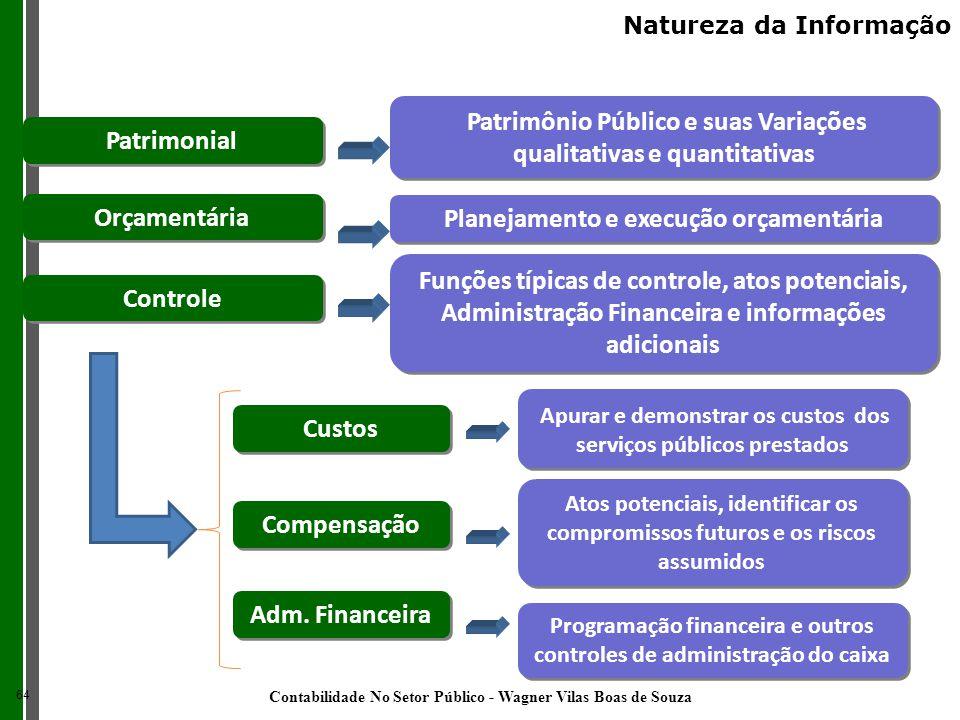 Patrimonial Orçamentária Compensação Planejamento e execução orçamentária Atos potenciais, identificar os compromissos futuros e os riscos assumidos P