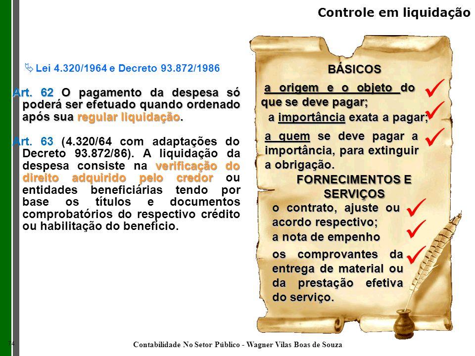 BÁSICOS a origem e o objeto do que se deve pagar; verificação do direito adquirido pelo credor Art. 63 (4.320/64 com adaptações do Decreto 93.872/86).