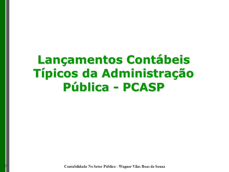 Lançamentos Contábeis Típicos da Administração Pública - PCASP 97 Contabilidade No Setor Público - Wagner Vilas Boas de Souza