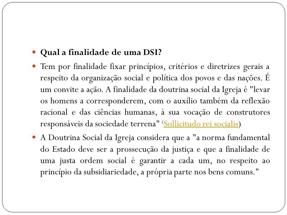 Qual a finalidade de uma DSI? Tem por finalidade fixar princípios, critérios e diretrizes gerais a respeito da organização social e política dos povos