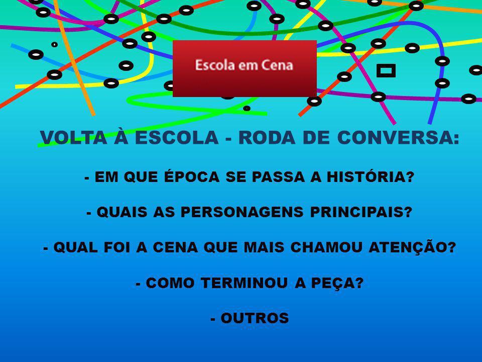 VOLTA À ESCOLA - RODA DE CONVERSA: - EM QUE ÉPOCA SE PASSA A HISTÓRIA.