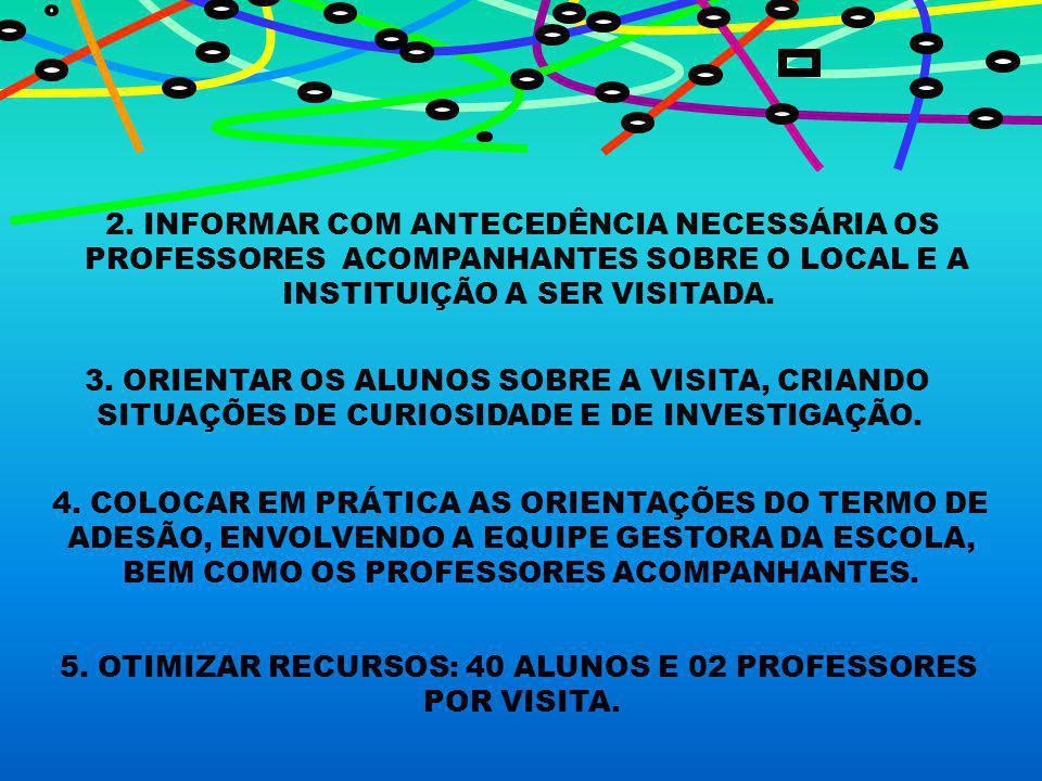 2. INFORMAR COM ANTECEDÊNCIA NECESSÁRIA OS PROFESSORES ACOMPANHANTES SOBRE O LOCAL E A INSTITUIÇÃO A SER VISITADA. 3. ORIENTAR OS ALUNOS SOBRE A VISIT