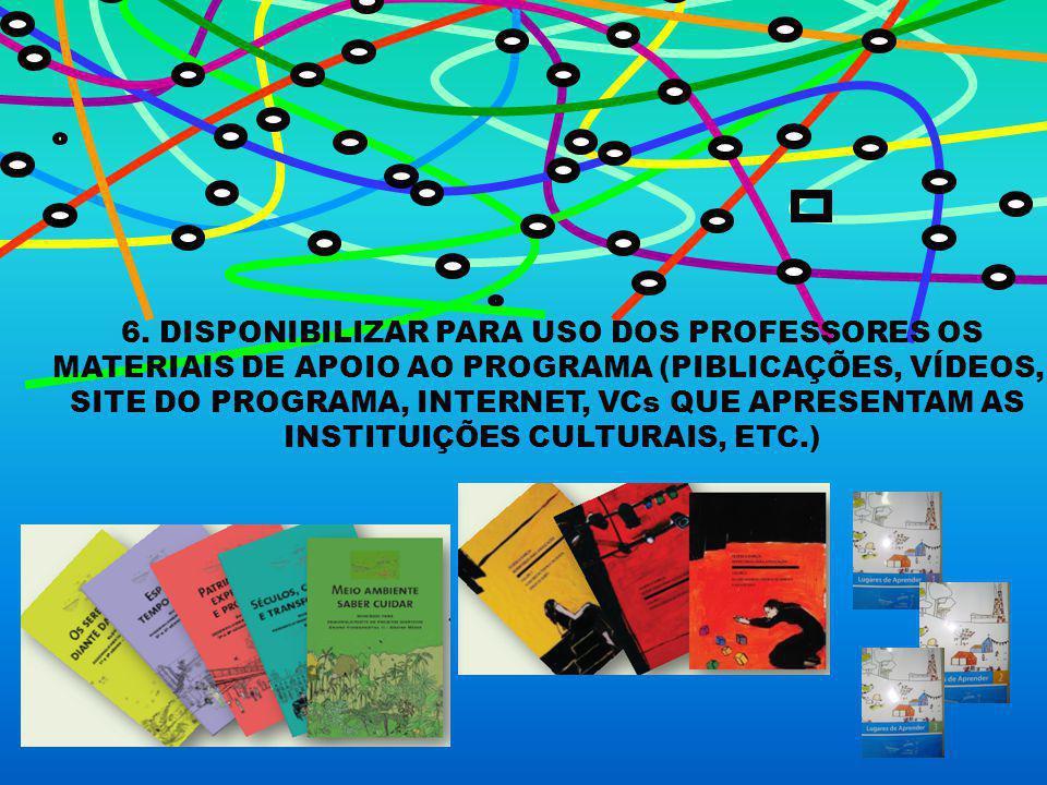 6. DISPONIBILIZAR PARA USO DOS PROFESSORES OS MATERIAIS DE APOIO AO PROGRAMA (PIBLICAÇÕES, VÍDEOS, SITE DO PROGRAMA, INTERNET, VCs QUE APRESENTAM AS I
