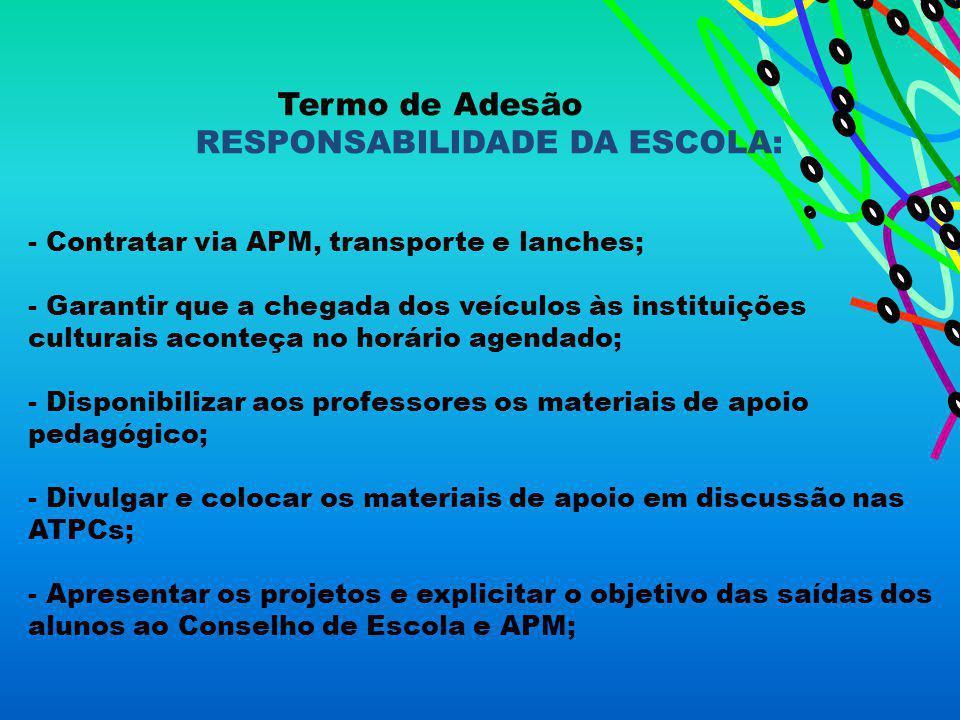 Termo de Adesão RESPONSABILIDADE DA ESCOLA: - Contratar via APM, transporte e lanches; - Garantir que a chegada dos veículos às instituições culturais