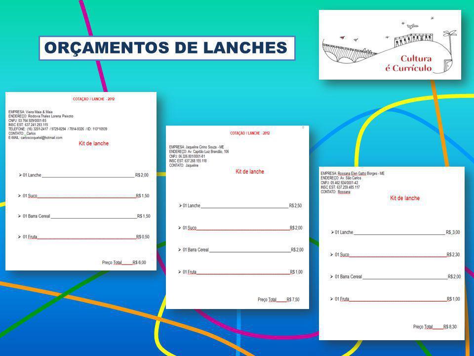 ORÇAMENTOS DE LANCHES