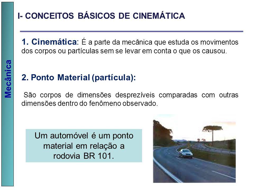 Mecânica I- CONCEITOS BÁSICOS DE CINEMÁTICA 1. Cinemática: É a parte da mecânica que estuda os movimentos dos corpos ou partículas sem se levar em con