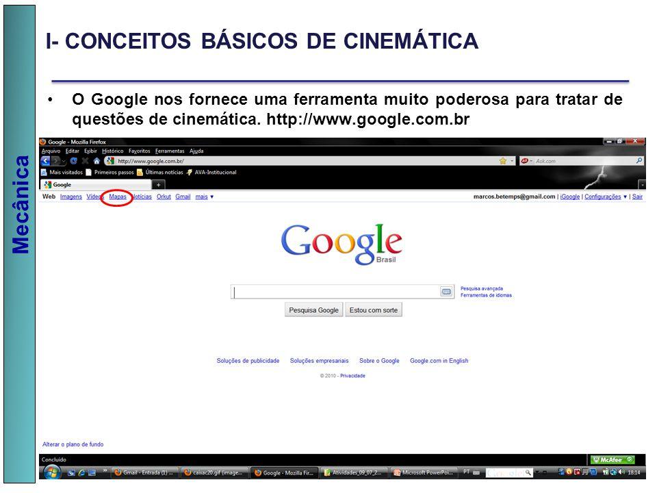 Mecânica O Google nos fornece uma ferramenta muito poderosa para tratar de questões de cinemática. http://www.google.com.br I- CONCEITOS BÁSICOS DE CI