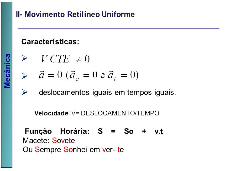 Mecânica II- Movimento Retilíneo Uniforme, e, Características: deslocamentos iguais em tempos iguais. v v v Velocidade: V= DESLOCAMENTO/TEMPO Função H