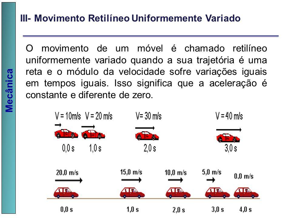 Mecânica III- Movimento Retilíneo Uniformemente Variado O movimento de um móvel é chamado retilíneo uniformemente variado quando a sua trajetória é um