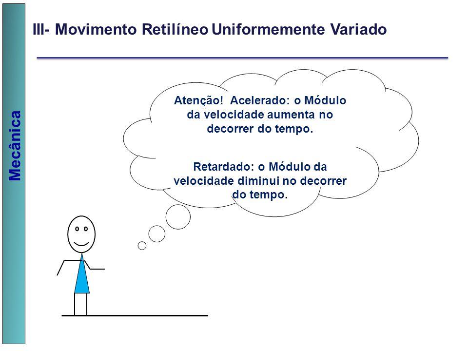 Mecânica III- Movimento Retilíneo Uniformemente Variado Atenção! Acelerado: o Módulo da velocidade aumenta no decorrer do tempo. Retardado: o Módulo d