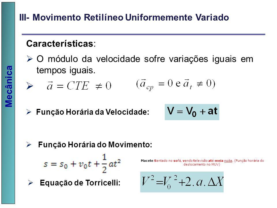 Mecânica III- Movimento Retilíneo Uniformemente Variado Características: O módulo da velocidade sofre variações iguais em tempos iguais. v Função Horá