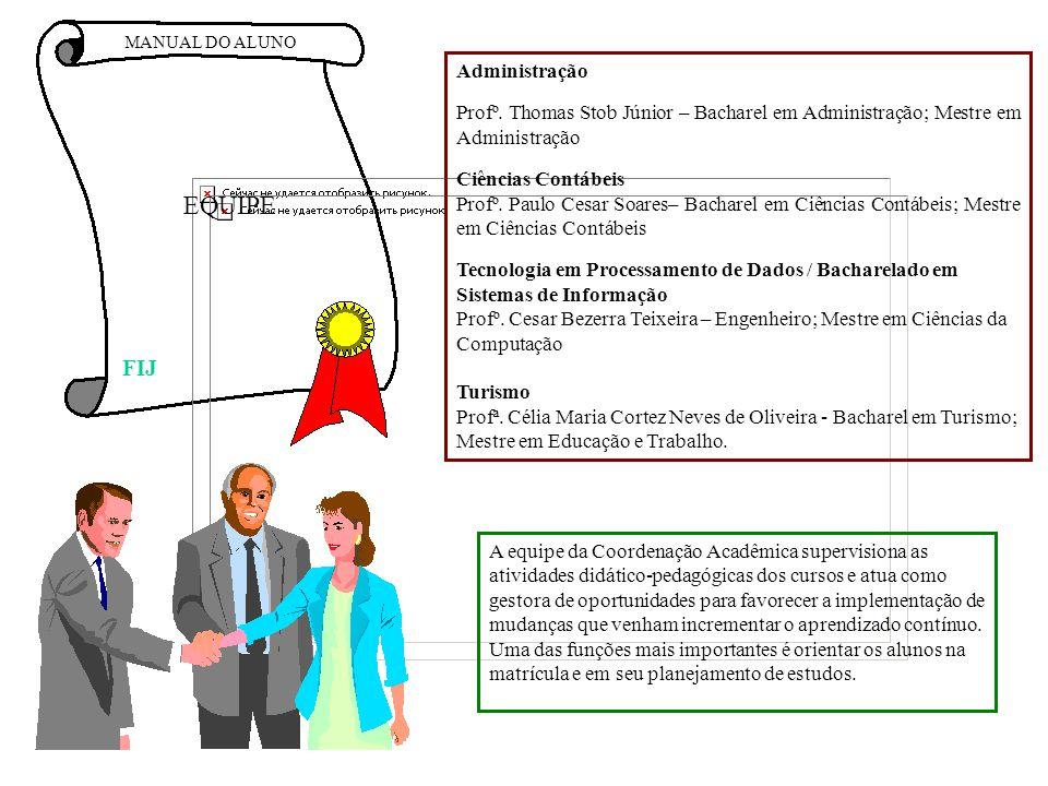 MANUAL DO ALUNO EQUIPE Administração Profº. Thomas Stob Júnior – Bacharel em Administração; Mestre em Administração Ciências Contábeis Profº. Paulo Ce