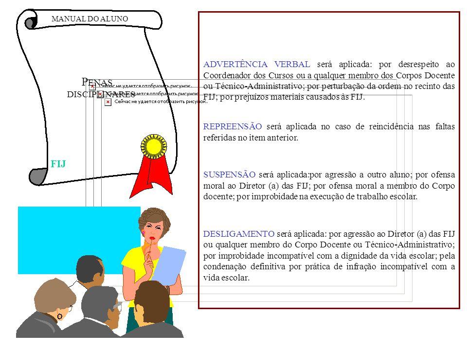 MANUAL DO ALUNO P ENAS DISCIPLINARES ADVERTÊNCIA VERBAL será aplicada: por desrespeito ao Coordenador dos Cursos ou a qualquer membro dos Corpos Docen