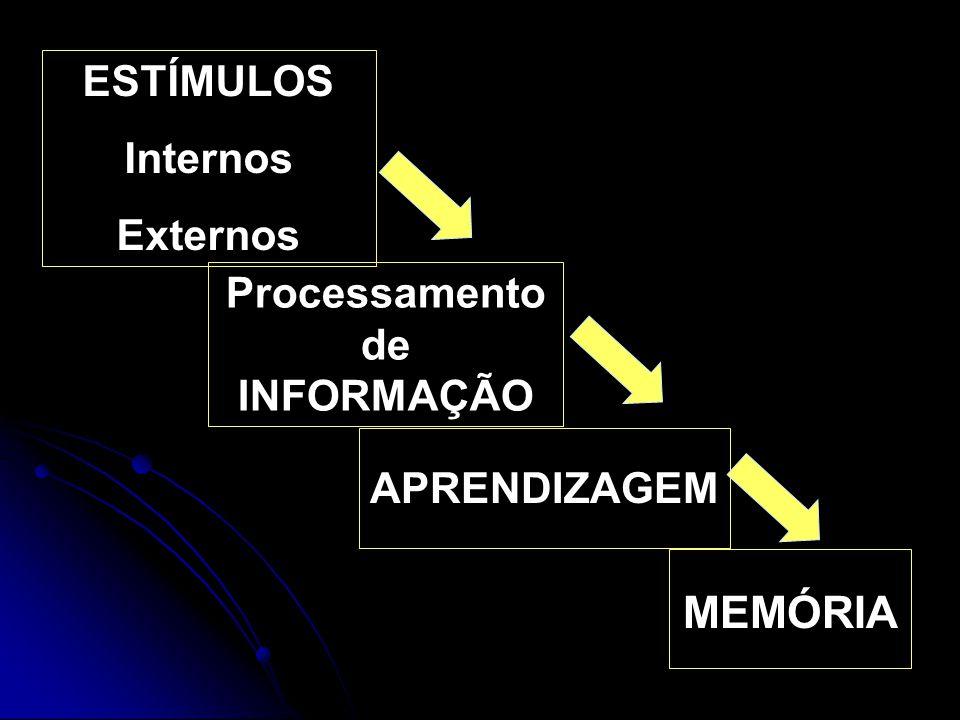 ESTÍMULOS Internos Externos Processamento de INFORMAÇÃO APRENDIZAGEM MEMÓRIA