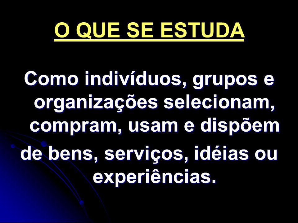 O QUE SE ESTUDA Como indivíduos, grupos e organizações selecionam, compram, usam e dispõem de bens, serviços, idéias ou experiências.