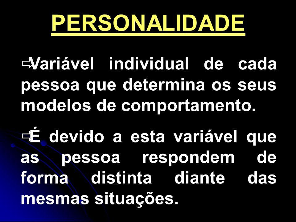 PERSONALIDADE Variável individual de cada pessoa que determina os seus modelos de comportamento.
