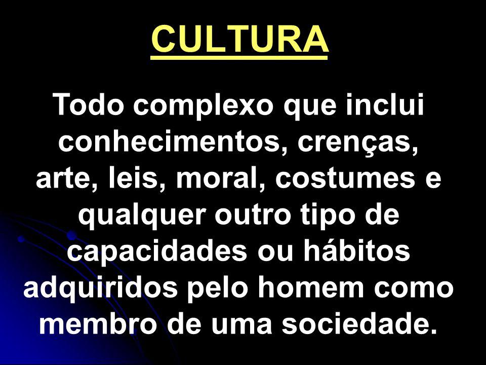 CULTURA Todo complexo que inclui conhecimentos, crenças, arte, leis, moral, costumes e qualquer outro tipo de capacidades ou hábitos adquiridos pelo homem como membro de uma sociedade.