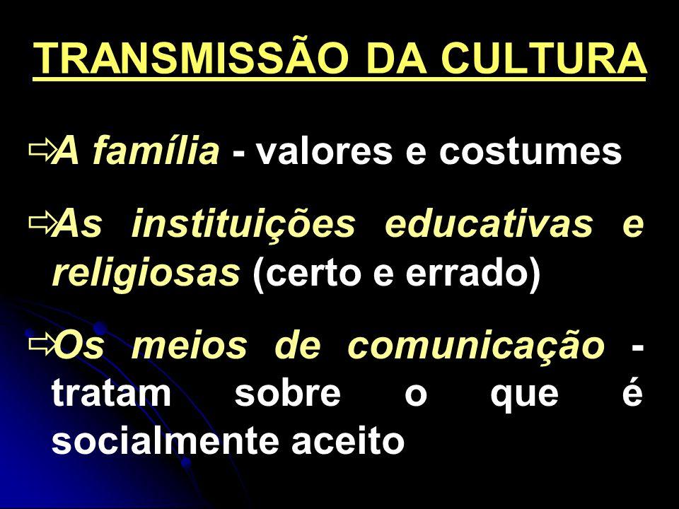 TRANSMISSÃO DA CULTURA A família - valores e costumes As instituições educativas e religiosas (certo e errado) Os meios de comunicação - tratam sobre o que é socialmente aceito