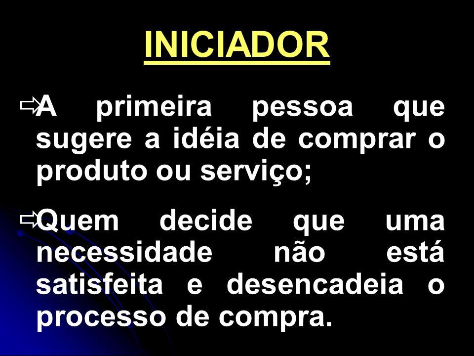 INICIADOR A primeira pessoa que sugere a idéia de comprar o produto ou serviço; Quem decide que uma necessidade não está satisfeita e desencadeia o processo de compra.