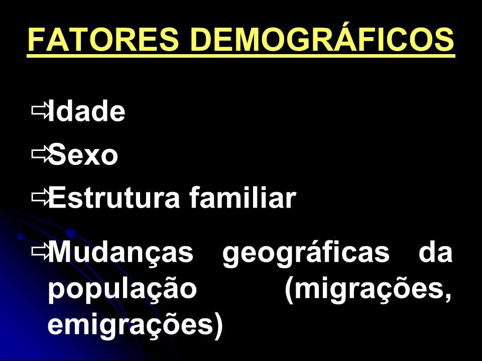 FATORES DEMOGRÁFICOS Idade Sexo Estrutura familiar Mudanças geográficas da população (migrações, emigrações)
