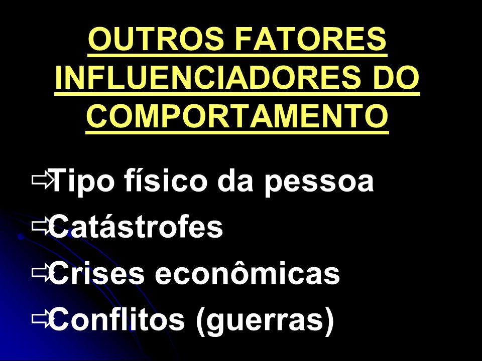 OUTROS FATORES INFLUENCIADORES DO COMPORTAMENTO Tipo físico da pessoa Catástrofes Crises econômicas Conflitos (guerras)