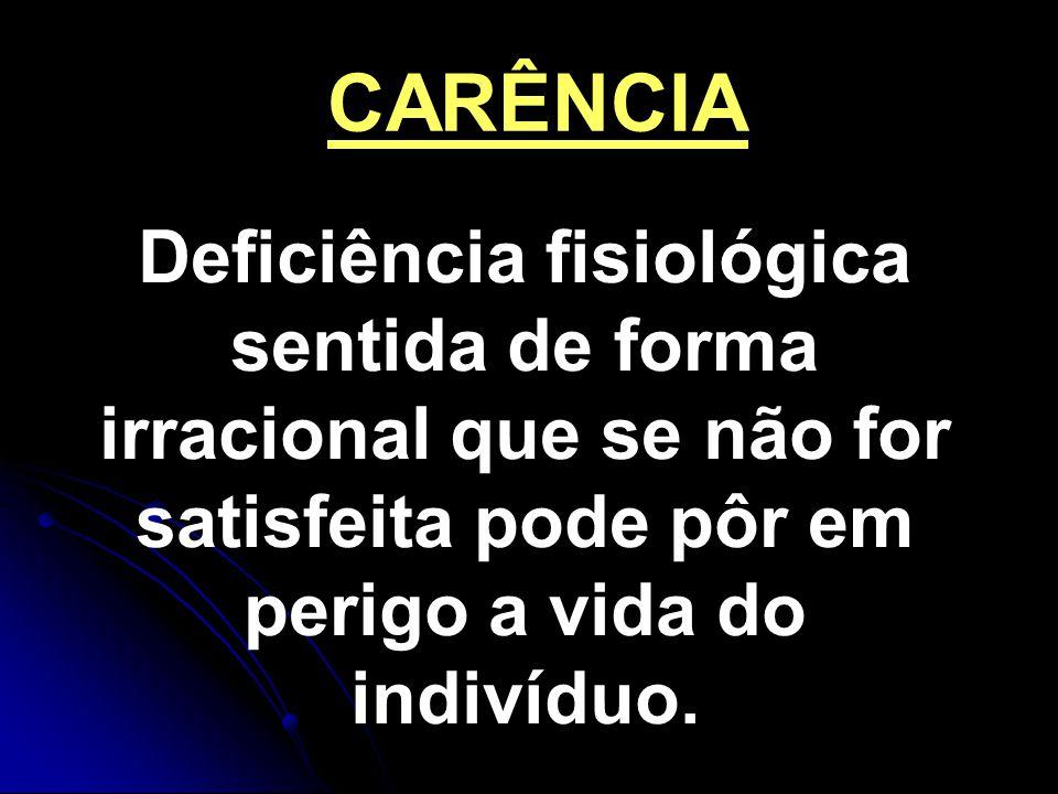 CARÊNCIA Deficiência fisiológica sentida de forma irracional que se não for satisfeita pode pôr em perigo a vida do indivíduo.