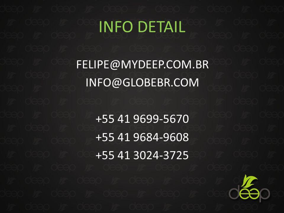 INFO DETAIL FELIPE@MYDEEP.COM.BR INFO@GLOBEBR.COM +55 41 9699-5670 +55 41 9684-9608 +55 41 3024-3725