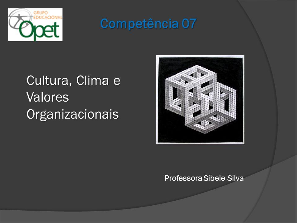 Cultura Organizacional Valores e Crenças; Princípios éticos e morais; Políticas internas e externas; Clima; Pressupostos.