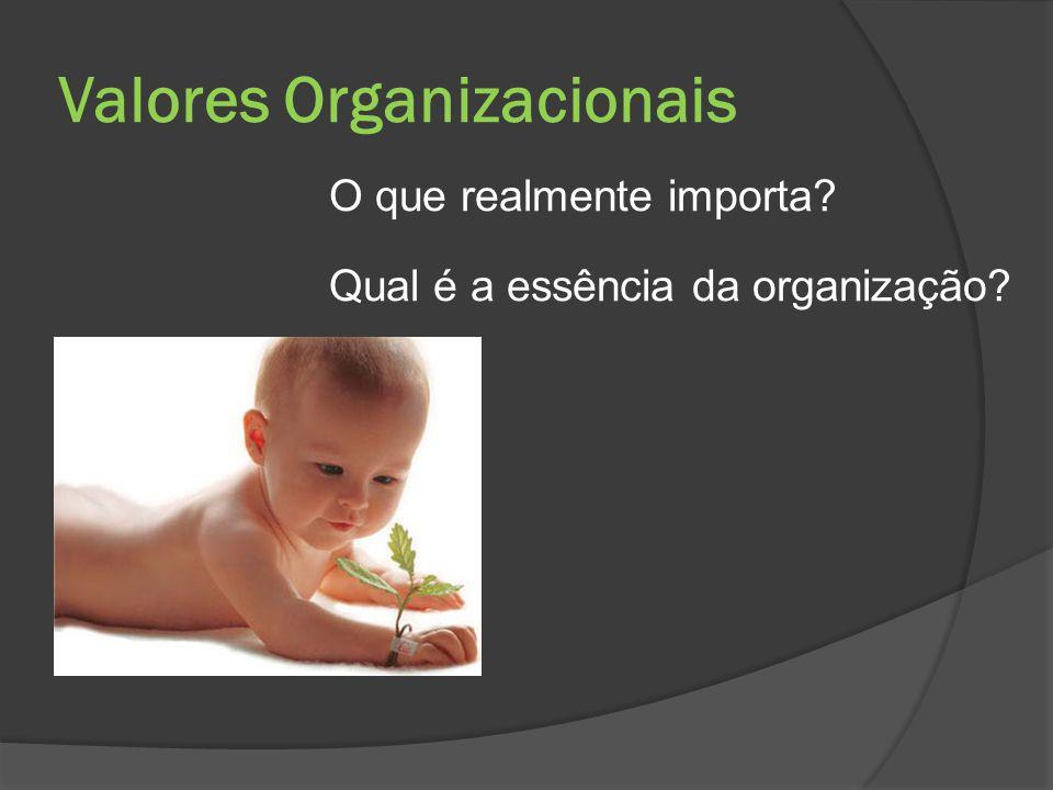 Valores Organizacionais O que realmente importa? Qual é a essência da organização?