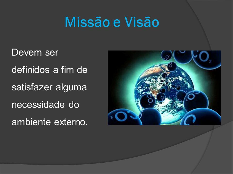 Missão e Visão Devem ser definidos a fim de satisfazer alguma necessidade do ambiente externo.