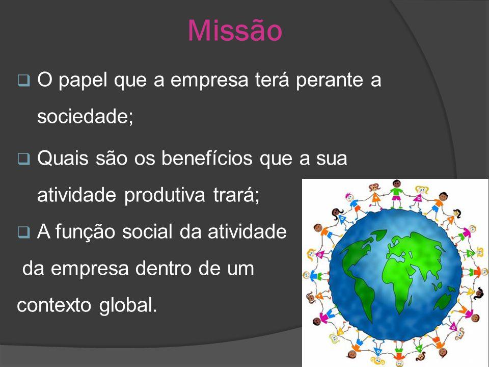 Missão O papel que a empresa terá perante a sociedade; Quais são os benefícios que a sua atividade produtiva trará; A função social da atividade da empresa dentro de um contexto global.