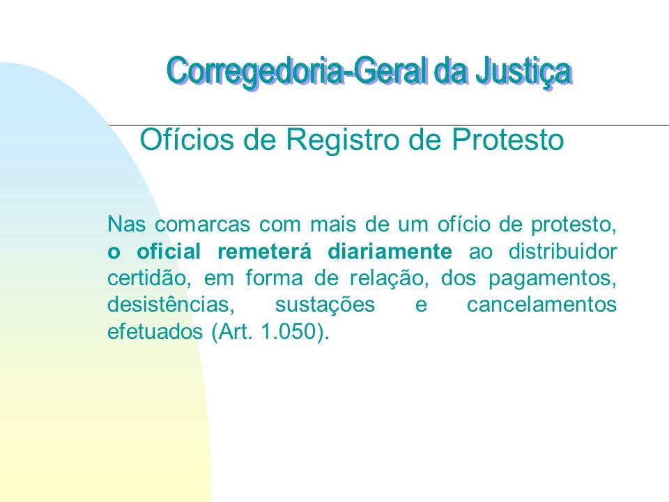 Ofícios de Registro de Protesto Nas comarcas com mais de um ofício de protesto, o oficial remeterá diariamente ao distribuidor certidão, em forma de relação, dos pagamentos, desistências, sustações e cancelamentos efetuados (Art.