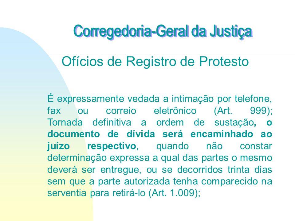 Ofícios de Registro de Protesto É expressamente vedada a intimação por telefone, fax ou correio eletrônico (Art.