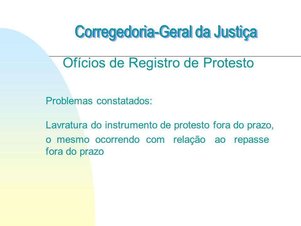 Ofícios de Registro de Protesto Problemas constatados: Lavratura do instrumento de protesto fora do prazo, o mesmo ocorrendo com relação ao repasse fora do prazo
