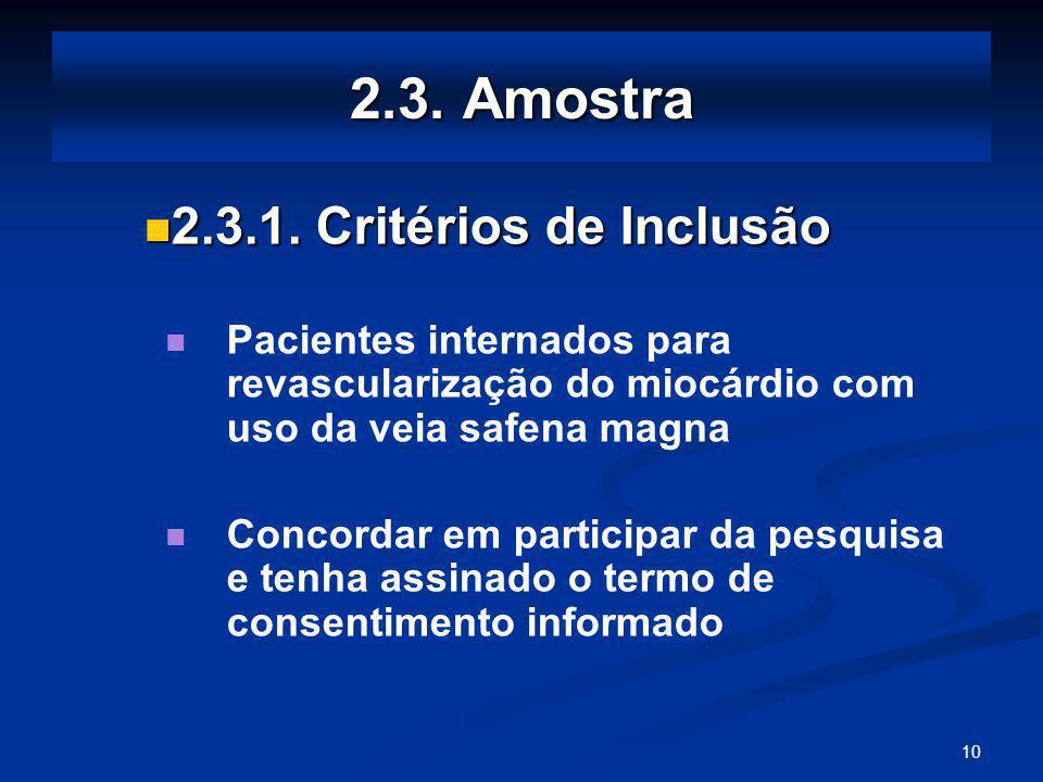 10 2.3.Amostra 2.3.1. Critérios de Inclusão 2.3.1.