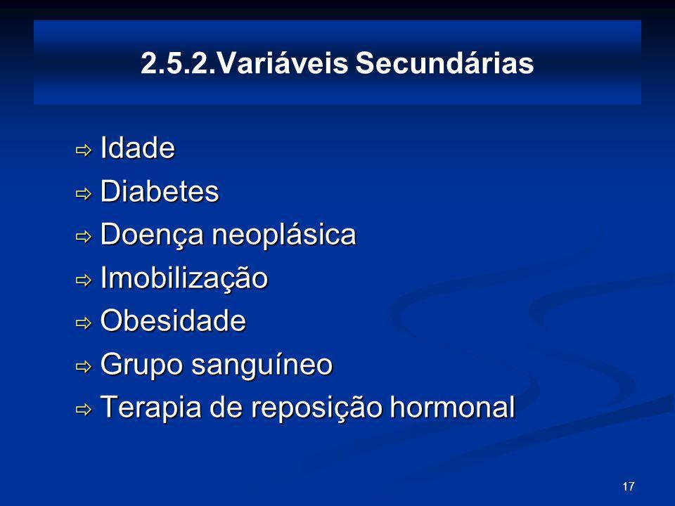 17 2.5.2.Variáveis Secundárias Idade Idade Diabetes Diabetes Doença neoplásica Doença neoplásica Imobilização Imobilização Obesidade Obesidade Grupo sanguíneo Grupo sanguíneo Terapia de reposição hormonal Terapia de reposição hormonal