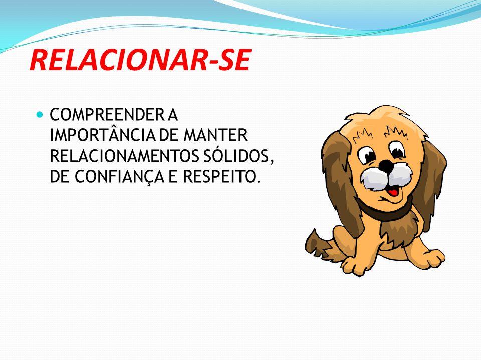 RELACIONAR-SE COMPREENDER A IMPORTÂNCIA DE MANTER RELACIONAMENTOS SÓLIDOS, DE CONFIANÇA E RESPEITO.