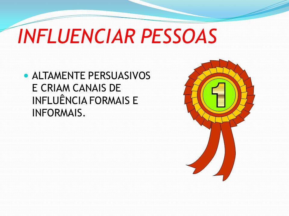 INFLUENCIAR PESSOAS ALTAMENTE PERSUASIVOS E CRIAM CANAIS DE INFLUÊNCIA FORMAIS E INFORMAIS.