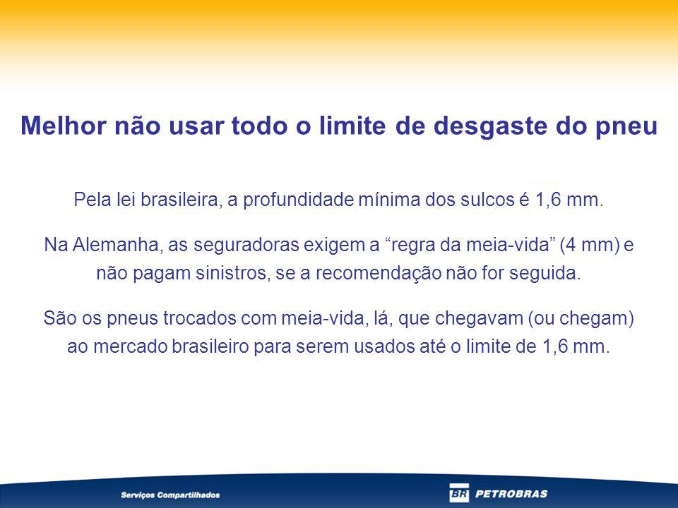 Pela lei brasileira, a profundidade mínima dos sulcos é 1,6 mm.