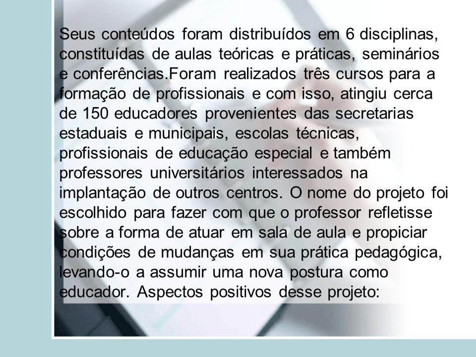 Seus conteúdos foram distribuídos em 6 disciplinas, constituídas de aulas teóricas e práticas, seminários e conferências.Foram realizados três cursos