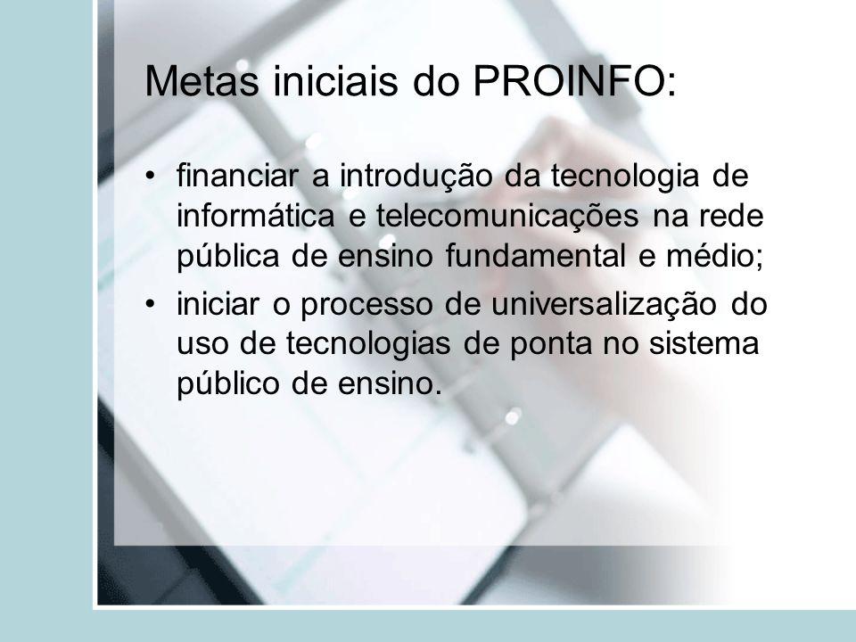 Metas iniciais do PROINFO: financiar a introdução da tecnologia de informática e telecomunicações na rede pública de ensino fundamental e médio; inici