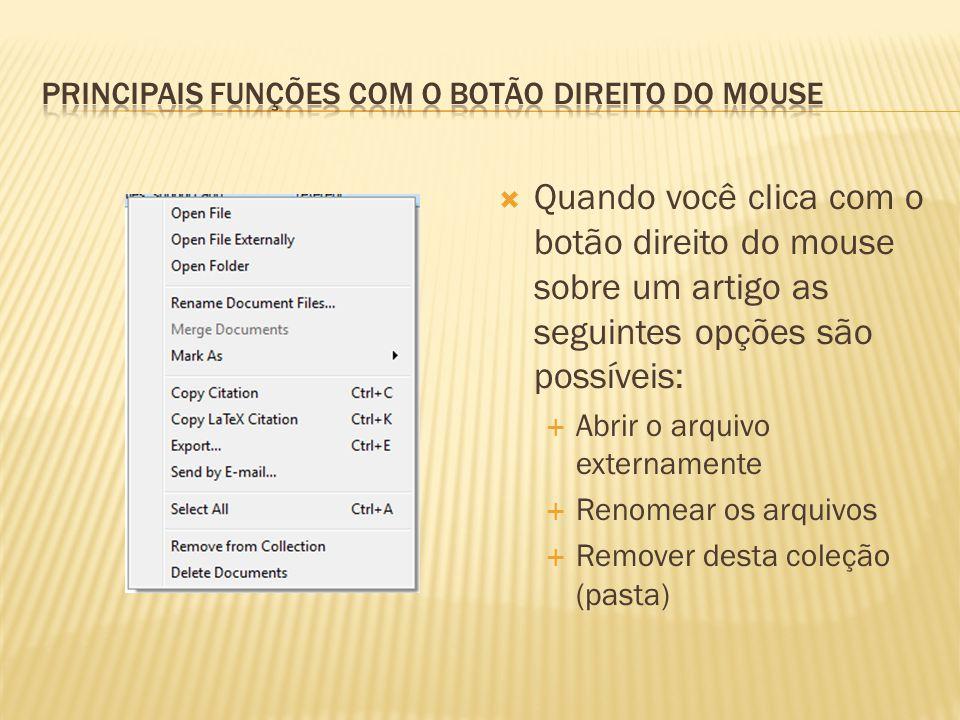 Quando você clica com o botão direito do mouse sobre um artigo as seguintes opções são possíveis: Abrir o arquivo externamente Renomear os arquivos Remover desta coleção (pasta)