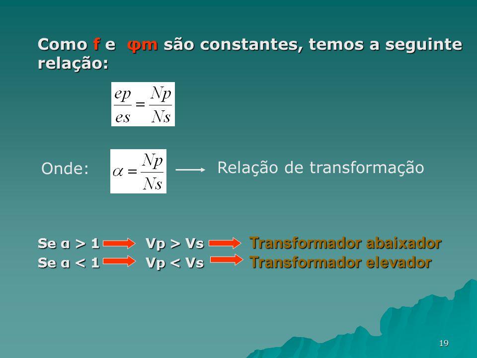 19 Como f e φm são constantes, temos a seguinte relação: Onde: Relação de transformação Se α > 1 Vp > Vs Transformador abaixador Se α < 1 Vp < Vs Tran