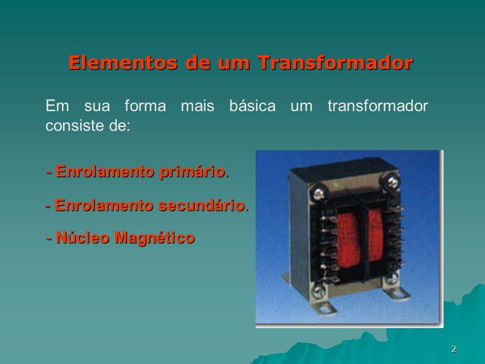 2 Elementos de um Transformador Em sua forma mais básica um transformador consiste de: - Enrolamento primário. - Enrolamento secundário. - Núcleo Magn