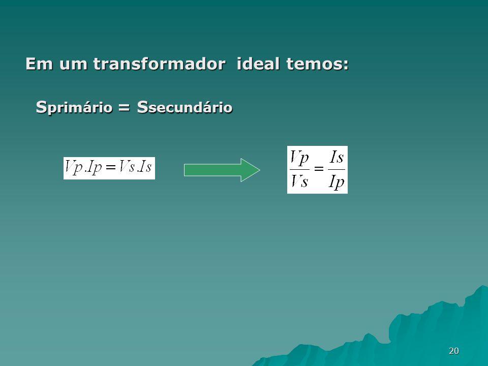 20 Em um transformador ideal temos: S primário = S secundário