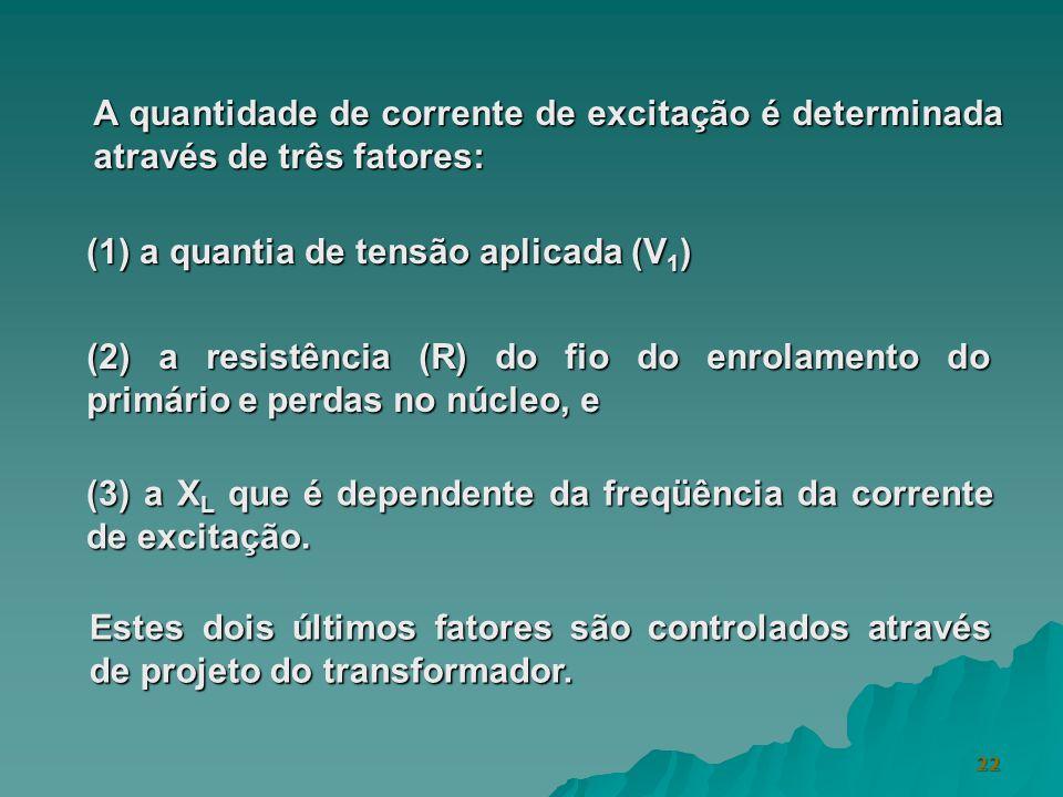 22 A quantidade de corrente de excitação é determinada através de três fatores: (3) a X L que é dependente da freqüência da corrente de excitação. (1)