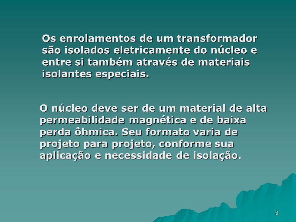 3 Os enrolamentos de um transformador são isolados eletricamente do núcleo e entre si também através de materiais isolantes especiais. O núcleo deve s
